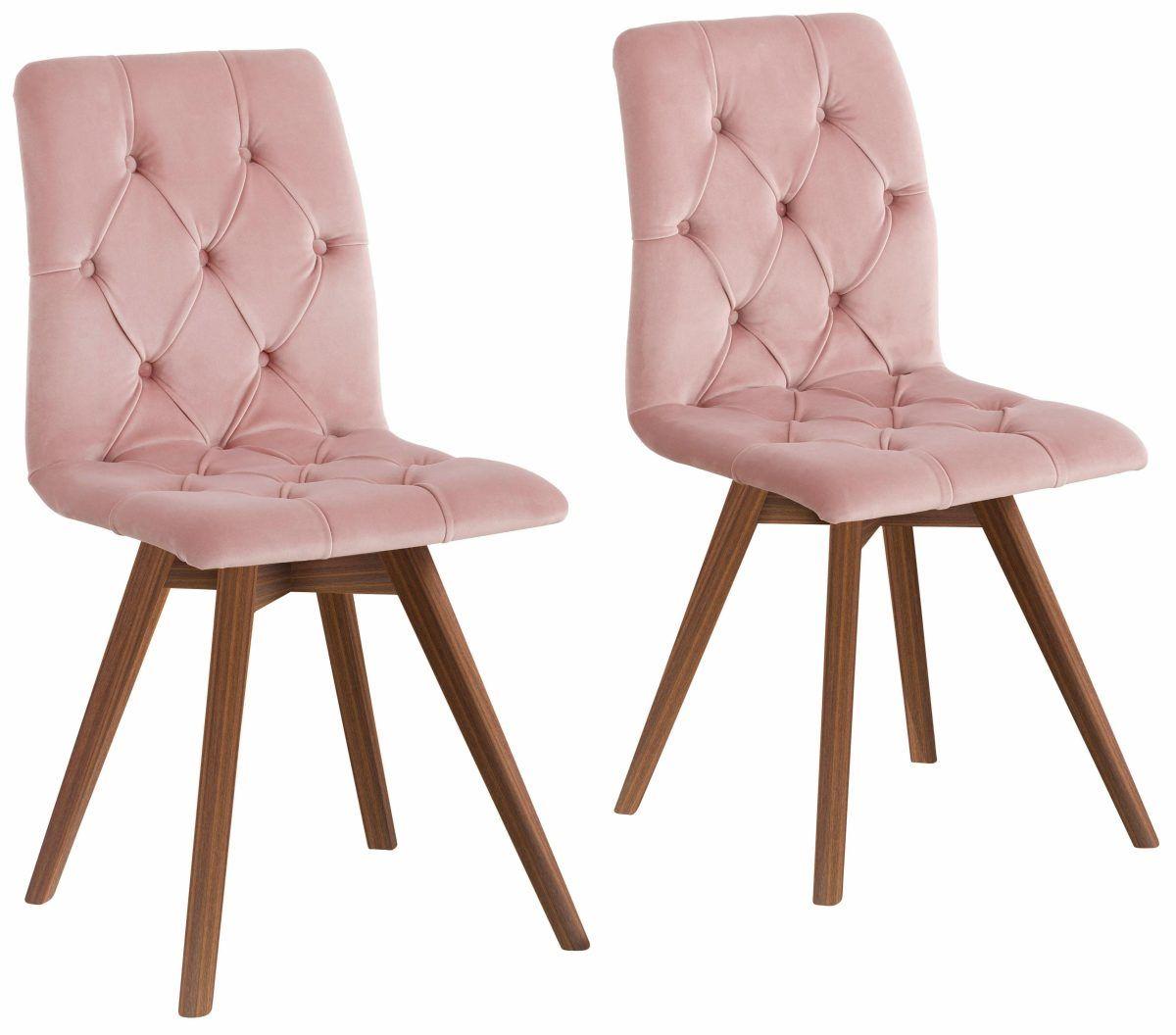 Home Affaire Stühle »Rania« Rosa, 4er Set, Samtoptik, Beine Nussbaum,
