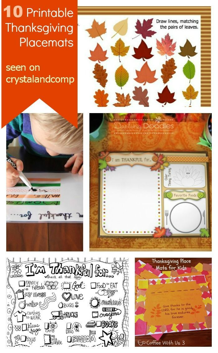 10 Printable Thanksgiving Placemats for Kids