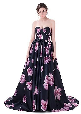 In Sotck Exquisite Floral Cloth Sweetheart Neckline Ball Gown Prom