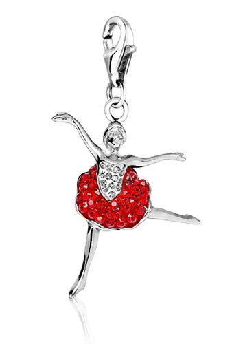 4c09428ca118f5 Ballerina Clip Charm .925 Sterling Silver clip on Charm for Charm Bracelets  with Swarovski Crystal Elements  Amazon.co.uk  Jewellery