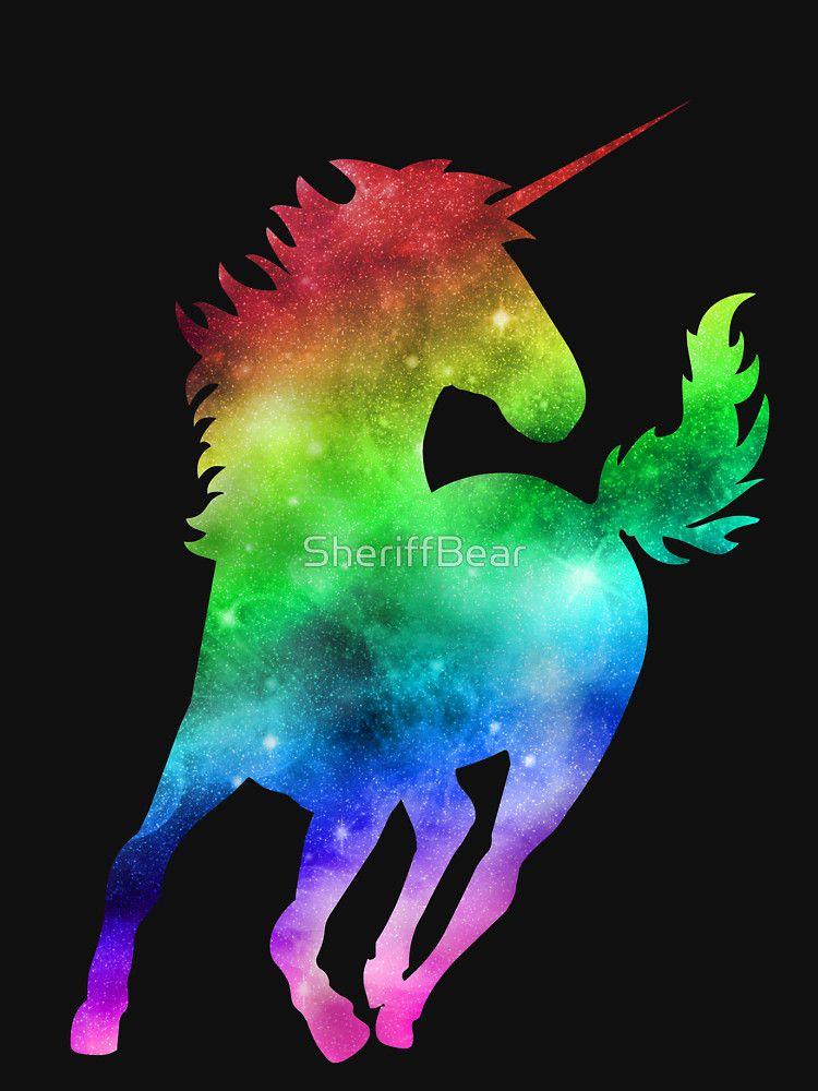 Rainbow Galaxy Unicorn Fitted V Neck T Shirt By Sheriffbear Rainbow Galaxy Unicorn Wallpaper Pony Drawing