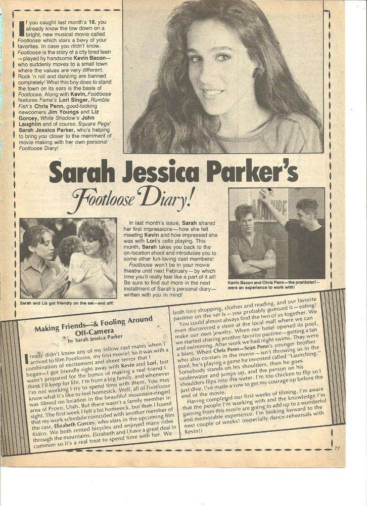 Sarah Jessica Parker, Square Pegs, Scott Baio, Full Page Vintage Clipping