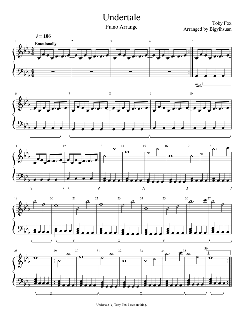 partition piano undertale