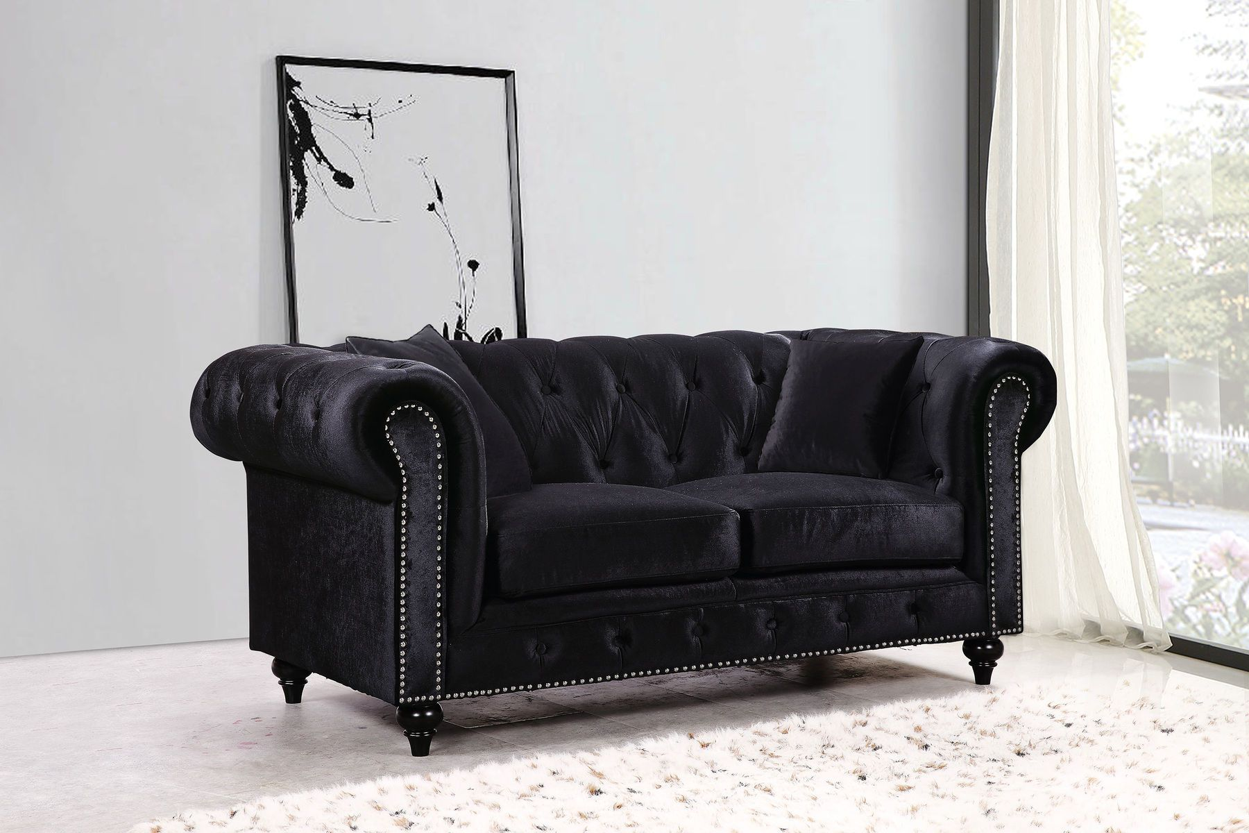 Meridian Chesterfield Black Velvet Fabric Loveseat W Rolled Arms Meridian Furniture Love Seat Furniture