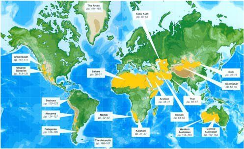 a map showing the desert regions in the world