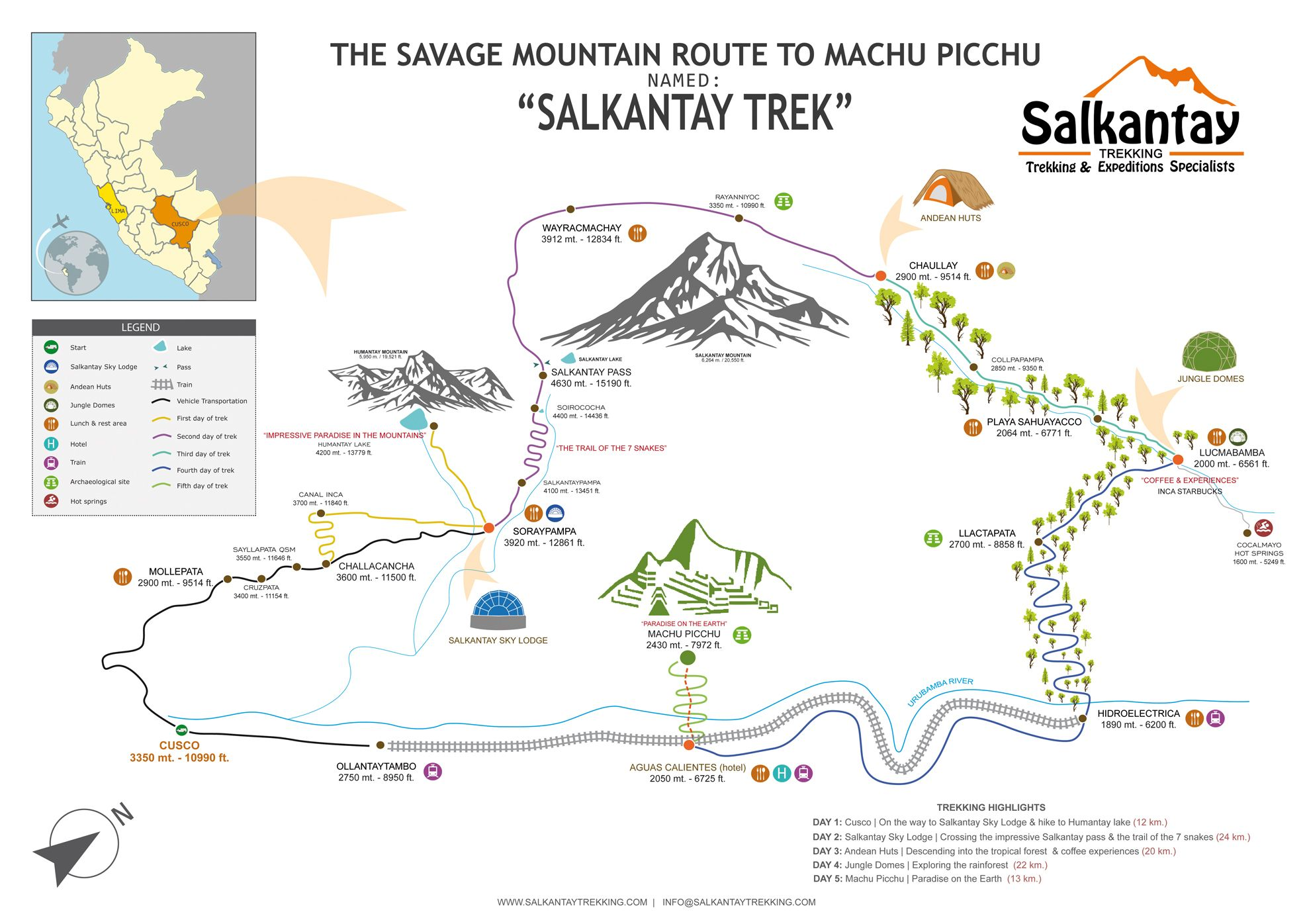 salkantay trek clic map and itinerary | Take a hike ... on appalacian trail map, inca trail map, santa cruz trail map, mountain trail map, machu picchu trail map, huayna picchu trail map, tuckerman ravine trail map, fat man's pass trail map,