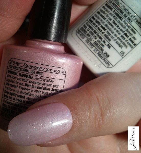 cnd layering shellac  mother of pearl over strawberry smoothie