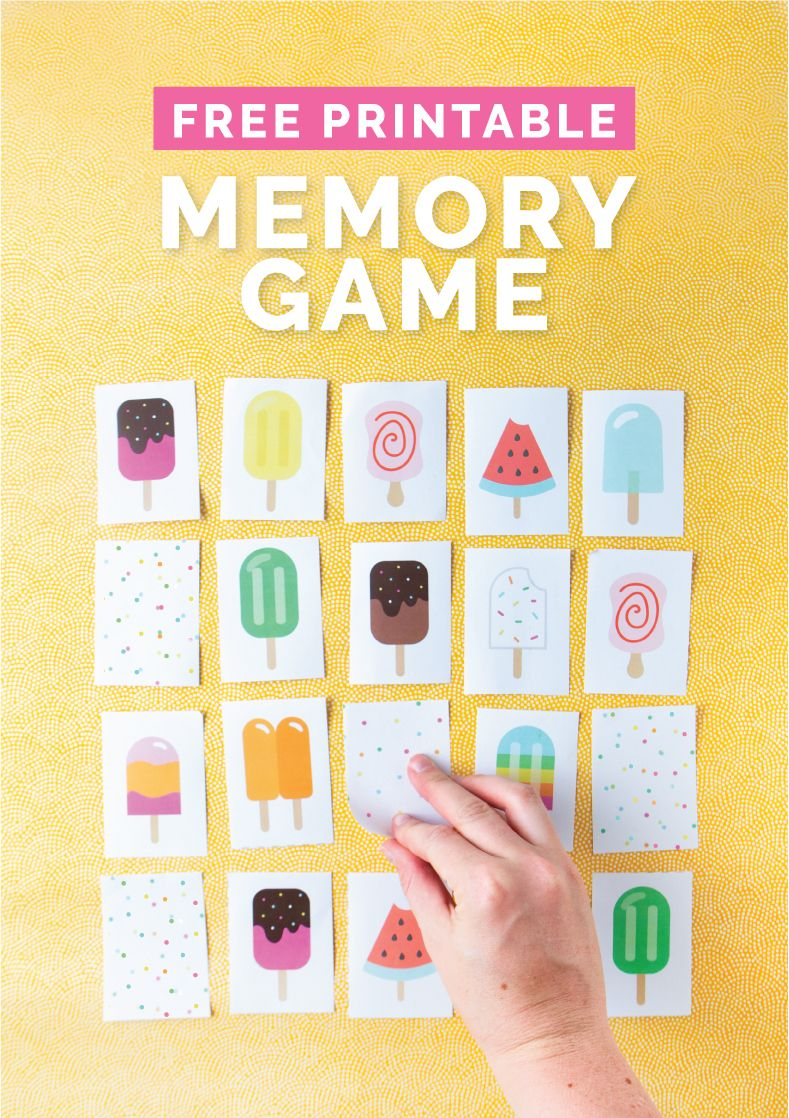Popsicle printable memory game with hand flipping over