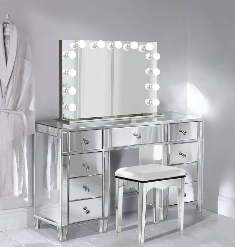 Glam Mirrored Makeup Vanity Set, Vanity Mirror Sets Furniture