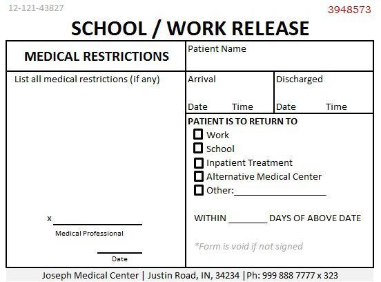 School Work Release Doctors Note | Doctors Note For Work ...