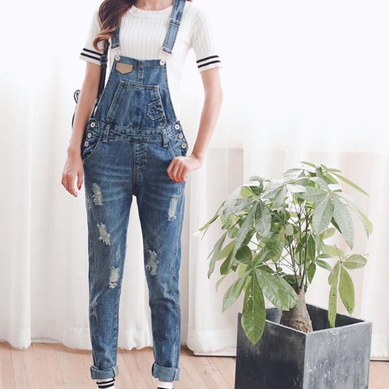 8f8ec607c487 TC Womens Jumpsuit Denim Overalls Spring Autumn Casual Ripped Hole Loose  Pants Ripped Pockets Jeans Coverall XL 2XL WT00194