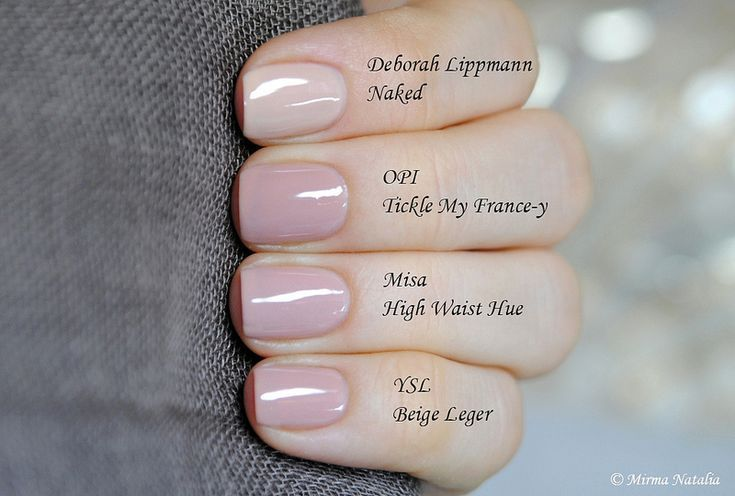 Deborah Lippmann Naked vs. OPI Tickle My France-y vs. Misa
