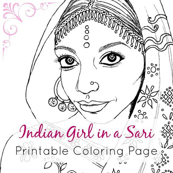 Indian Girl Adult Coloring Book