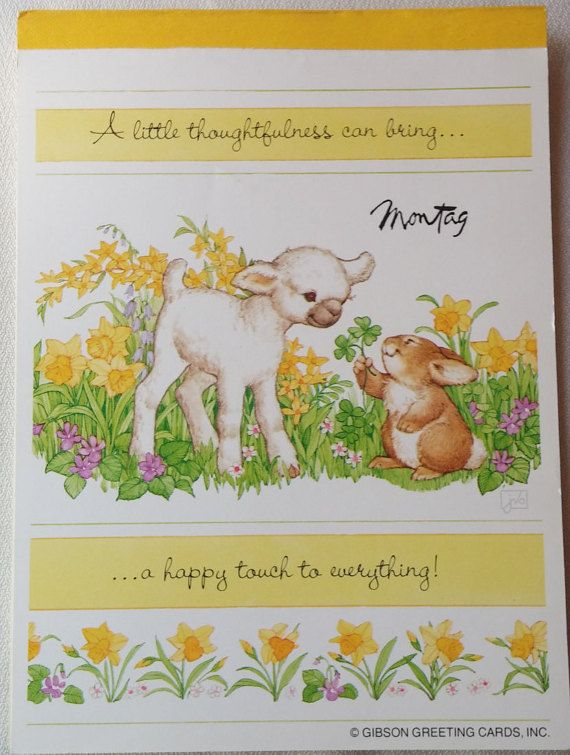 Tablet 5 34 x 7 78 unlined papers and feature a row of flowers vintage montag writing tablet woodsie friendships lamb and bunny gibson greeting cards inc m4hsunfo