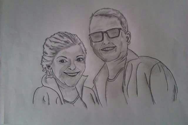 Tegning af Rikke og hendes ven Februar 2015