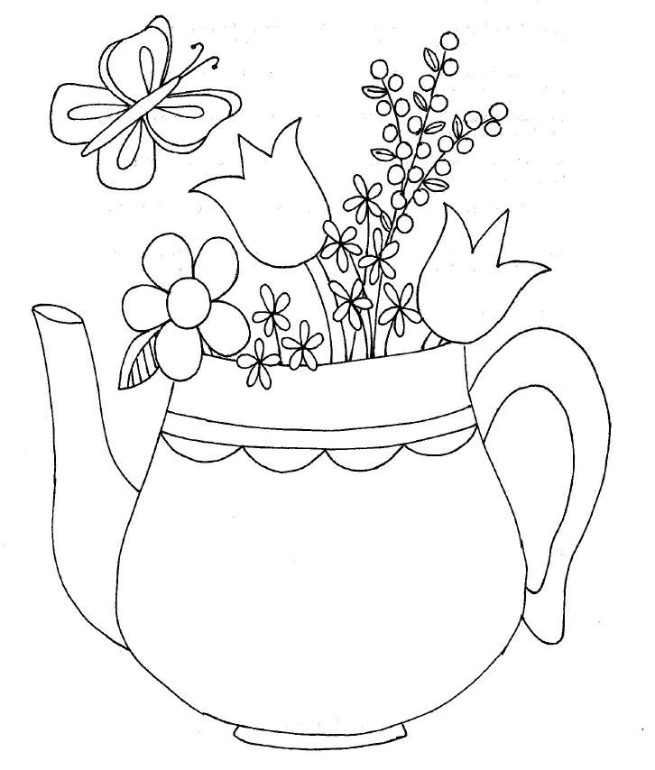 Tea pot container for embroidery or appliqué work, pretty