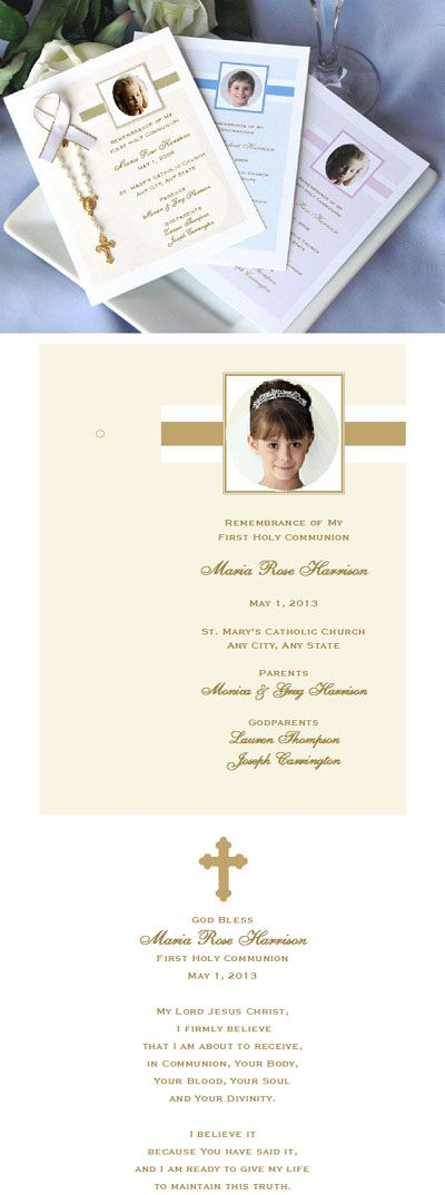 1st Holy Communion Personalized Remembrance Cards Communion
