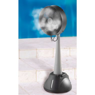 A Fan That Works As Well As An Air Conditioner This Fan Sprays A Light Mist That Can Really Keep Temperatures Tolerable Cooling Fan Fan Technology