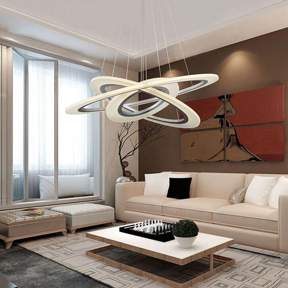 Modern Ring Acrylic Chandelier Rings Pendant Led Light Ceiling Lamp Lighting In 2020 Modern Led Lighting Lamp Light Dining Room Pendant