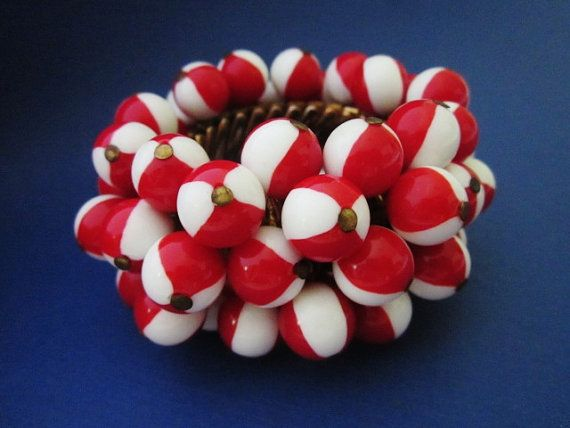 Vintage Red and White ChaCha Beaded Expansion by WhitebirdArtiques
