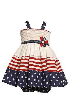 Bonnie Jean Little Girls Navy Red Stripe Polka Dot Print Patriotic Dress 2T-6X