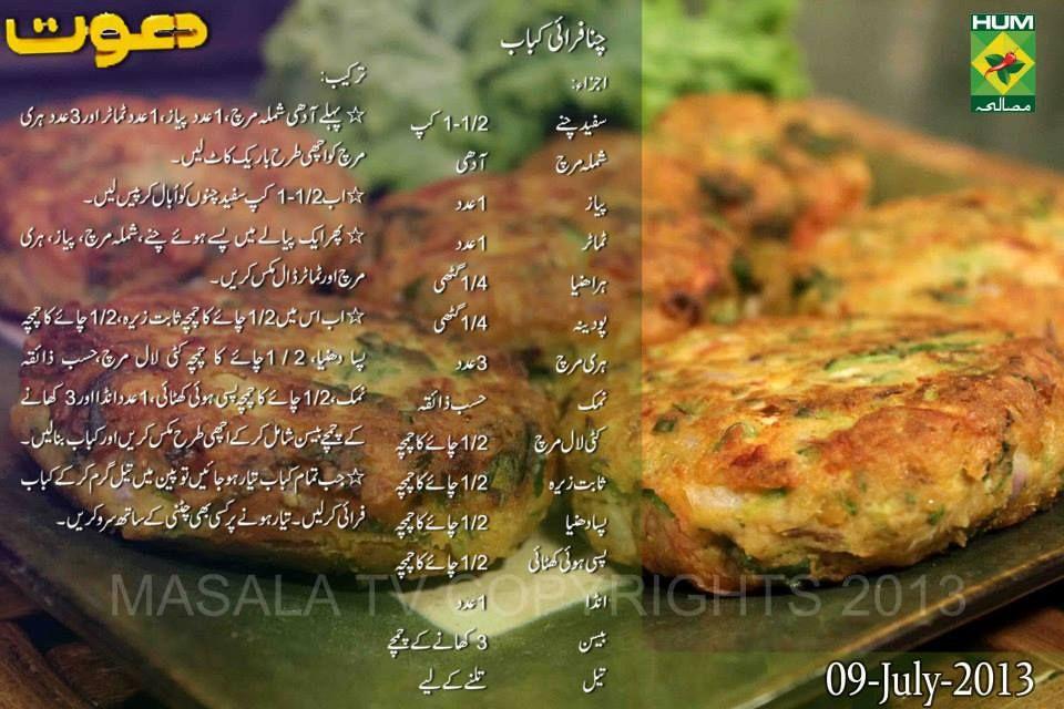 Chana Fry Kabab Recipes Masala Tv Recipe Iftar Recipes
