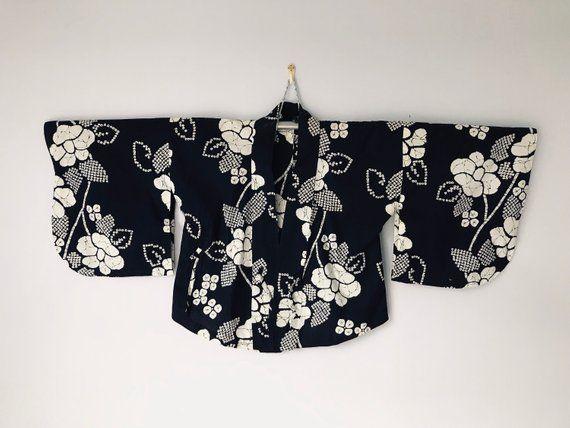34da8ab53b9 Vintage Japanese Haori Kimono Cardigan Short Kimono Cotton Floral Motif  Blue Kimono Robe Kimono