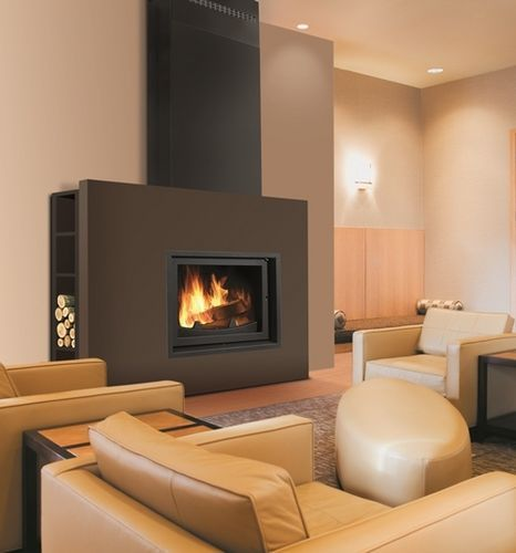 Contemporary fireplace wood burning closed hearth kubic for Contemporary wood fireplace