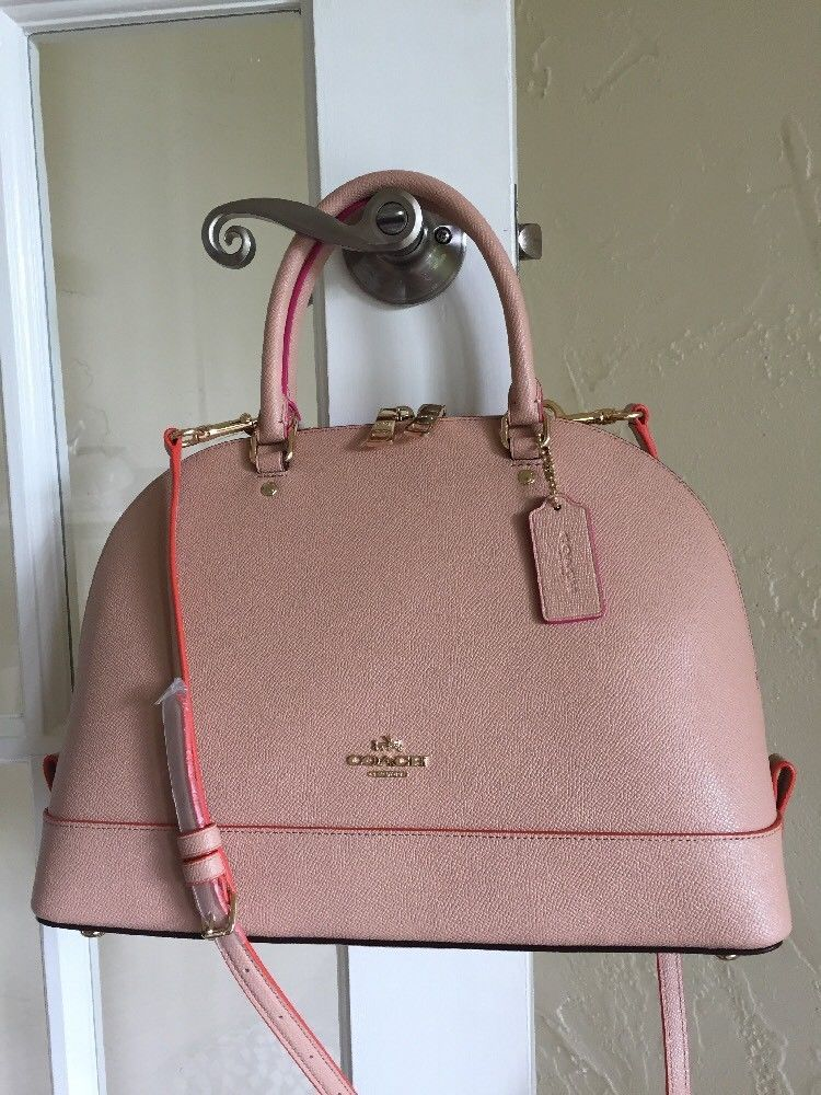 8713b6f9934 Coach F13000 Sierra Satchel in Edgepaint Crossgrain Leather Nude Pink Multi   425  Coach  Satchel