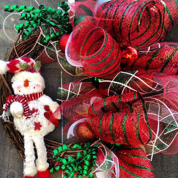 Snowman Christmas Holiday Wreath by W0220703 on Etsy, $55.00