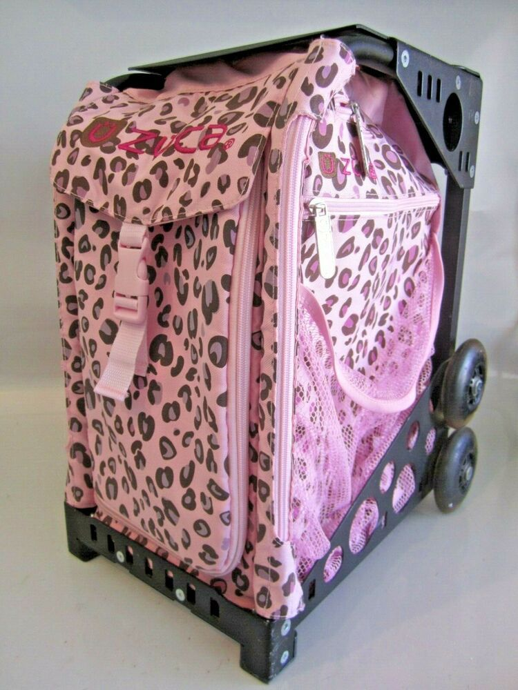 Zuca Black Frame Green Pink Cheetah Print Bag Rolling Backpack