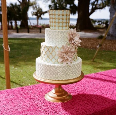 Wedding Cake, Wedding Cakes by Jim Smeal; Photo: A Bryan Photo - South Carolina Wedding http://caratsandcake.com/MarisandAndrew