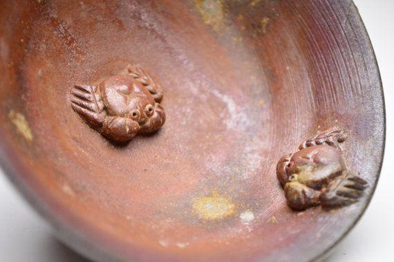 Anagama Wood fired Bizen Guinomi Sake Crab Cup. by templeMARKET