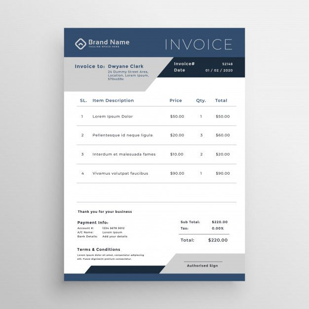 Download Blue Vector Business Invoice Template Design For Free Invoice Design Template Invoice Design Invoice Template