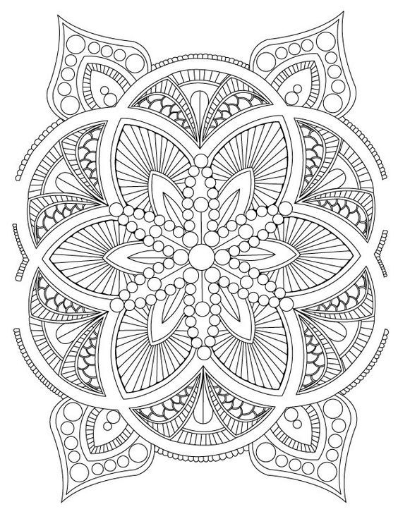Abstract Mandala Coloring Page for Adults, Digital Download, Stress ...