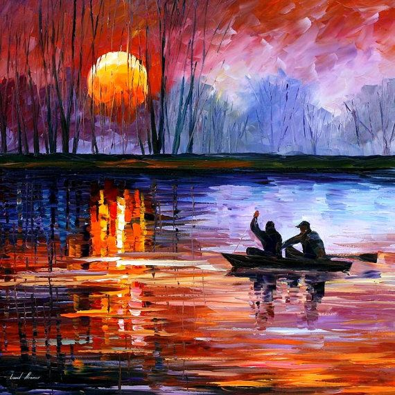 Original Recreation Oil Painting on Canvas This is the best possible quality of recreation made by Leonid Afremov in person Title: Fishing On The Lake Size: 30 x 30 (75cm x 75cm) Condition: Excellent Brand new Gallery Estimated Value: $3,500 Type: Original Recreation Oil Painting on Canvas by Palette Knife This is a recreation of a piece which was already sold. The recreation is 100% hand painted by Leonid Afremov using oil paint, canvas and palette knife. Its not an identica...