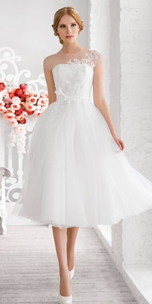 [167.99] Chic Tulle Jewel Neckline Tea-length A-line Wedding Dress With Beaded Lace Appliques