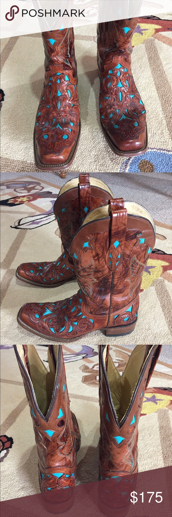 Women's Corral Boots 11 Gorgeous pair of Women's Corral Boots in brown with TURQUOISE inlay with a Floral pattern. Trendy Square Toe and perfect for a night out! Shoes Heeled Boots