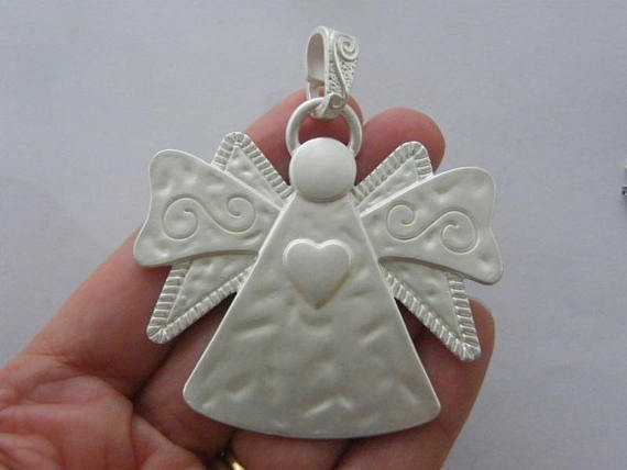 1 Angel charm whitish silver tone AW25