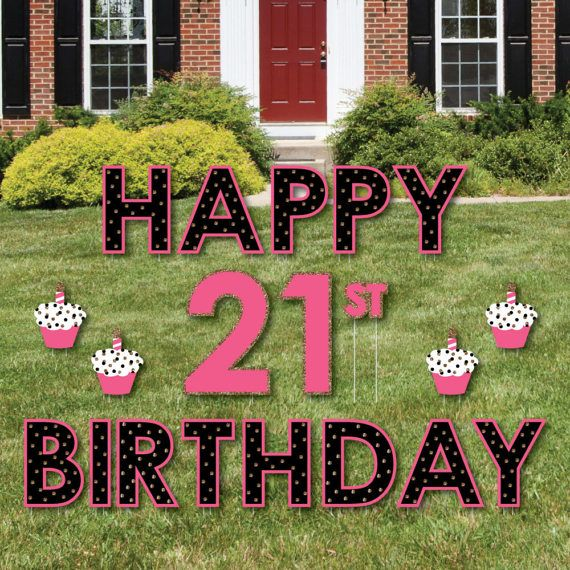 21st Birthday Party Yard Sign Finally 21 Girl Outdoor