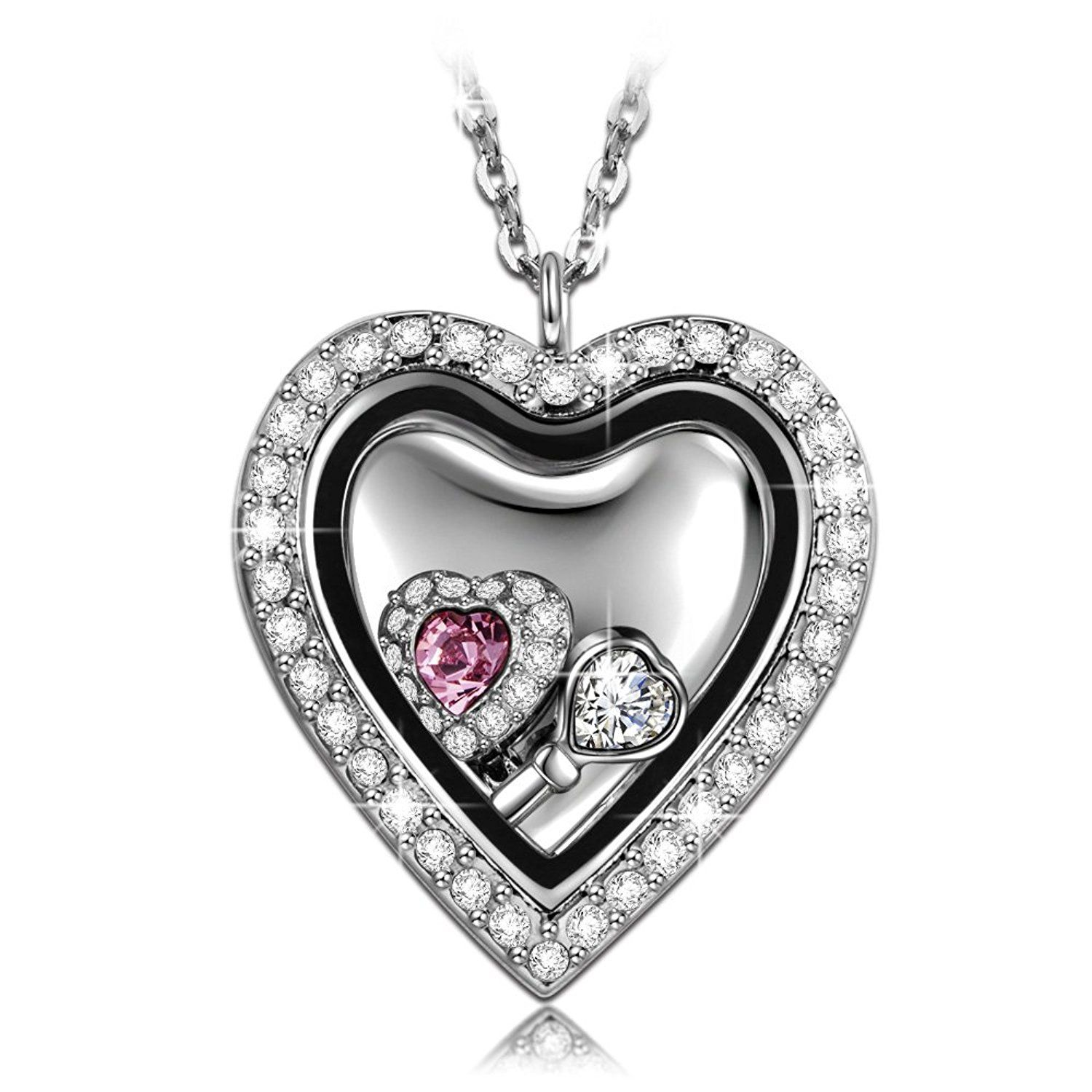 Ladycolour heart locket pendant engraved uloveu necklace made with