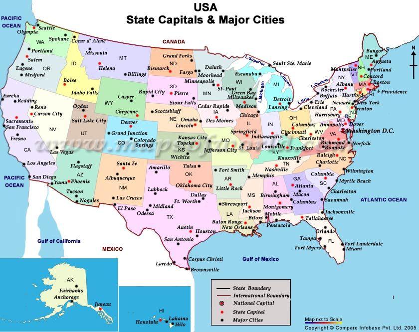 Carte Etats Unis States And Capitals