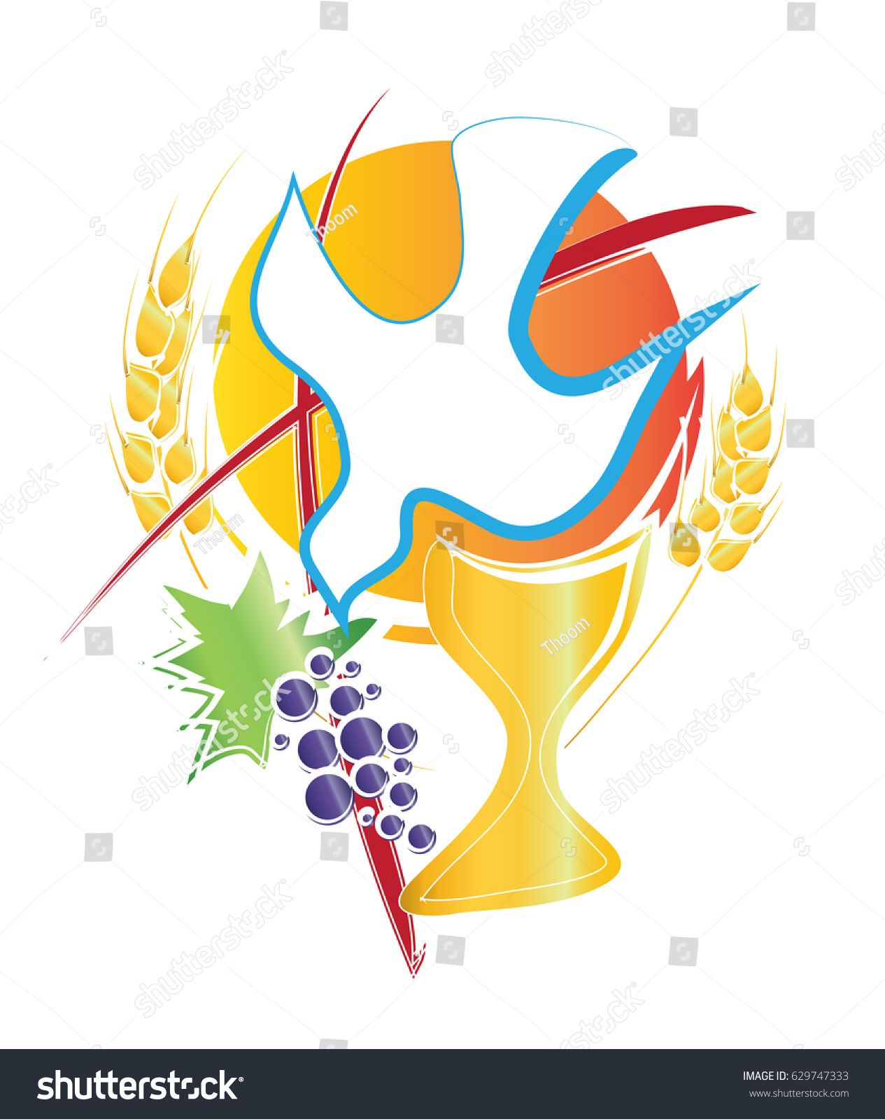 Eucharist Symbol With Chalice Holy Spirit Dove Grapes And Wheat