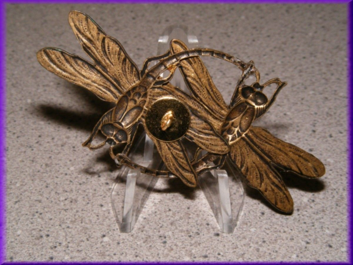 ButtonArtMuseum.com - Magical Dragonflies Painted Studio Brass Button
