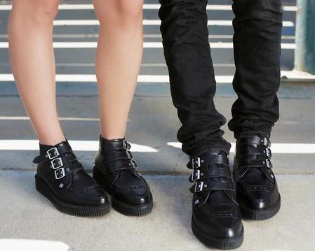 T.U.K Pointed Creeper Unisex Black Leather Creeper Shoes