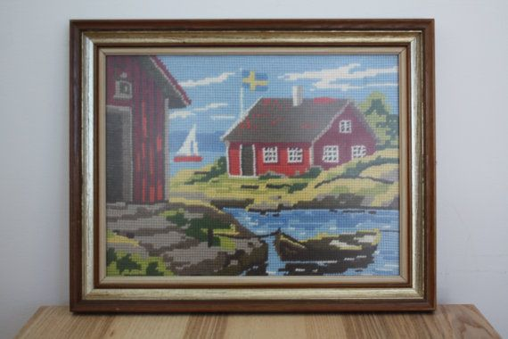 Vintage Embroidery of Swedish Summer House on the Water on Etsy, $42.00