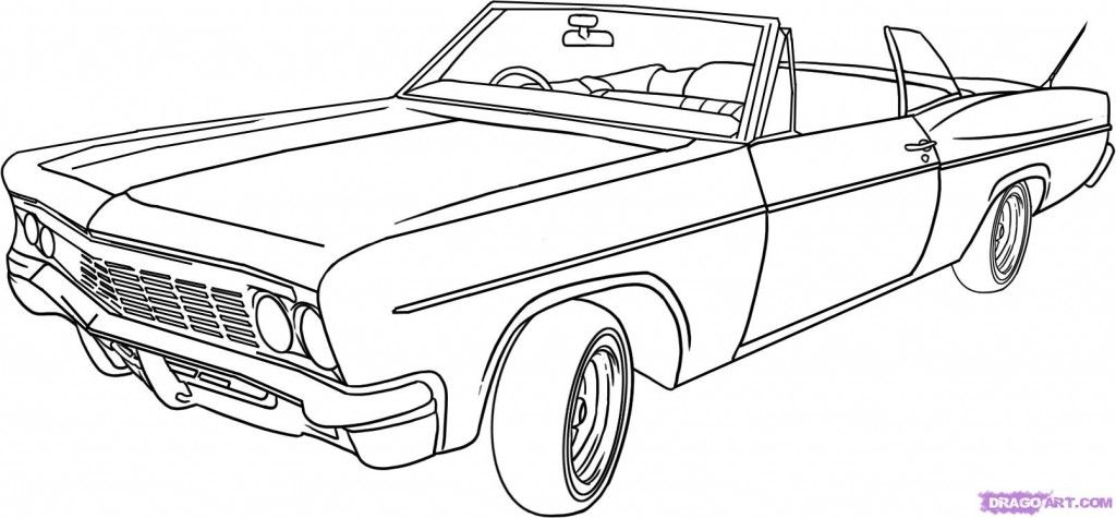 Draw Cool Cars Low Rider Lowrider Drawings Cars Coloring Pages