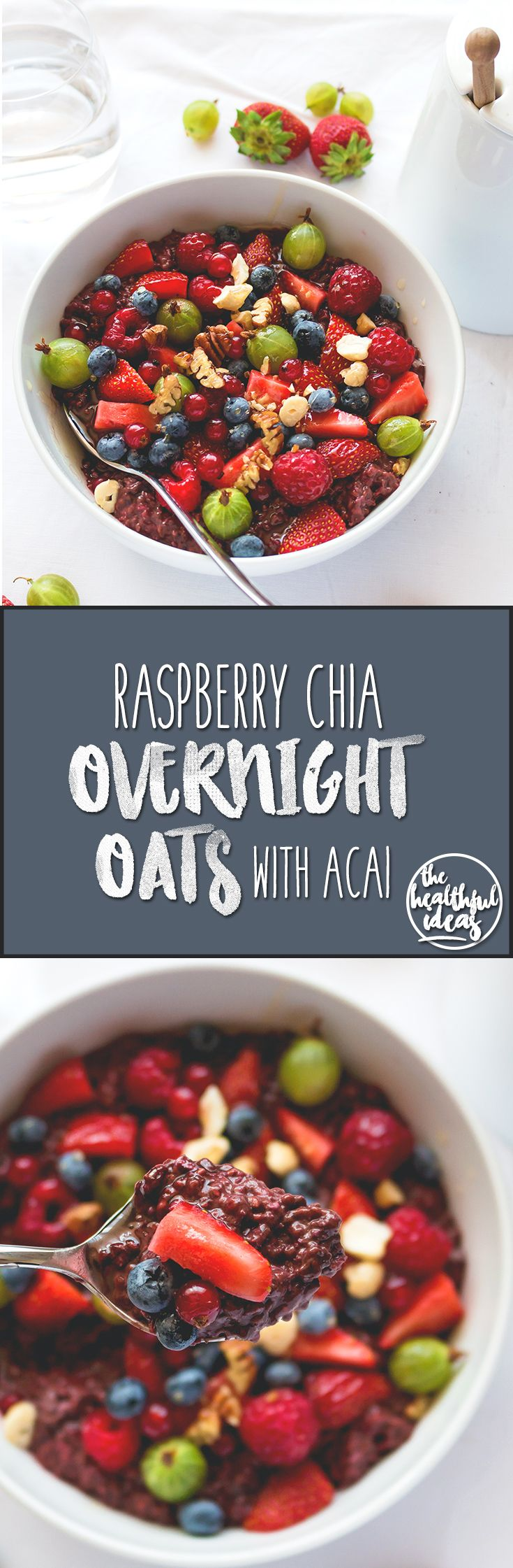 Raspberry Chia Overnight Oats with Acai - the best breakfast to start your day right. Full of raspberries, cacao, acai, and chia seeds. YUM! We love this recipe!| thehealthfulideas.com