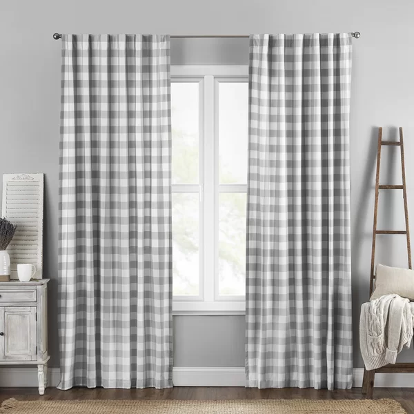 Broadus 100 Cotton Checkered Semi Sheer Rod Pocket Single Curtain Panel In 2020 Panel Curtains Rod Pocket Curtains Curtains