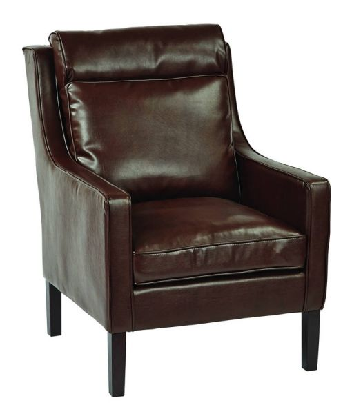 Sofa Slipcovers Colson Cocoa Bonded Leather Brown Brushed Wood Legs Arm Chair